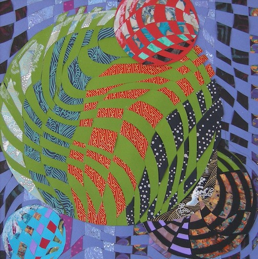"""Max Linehan has her work at Betsy Bowen's Gallery. This is """"Woven Spheres,"""" a paper collage."""