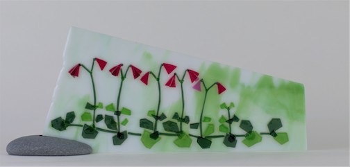 Twin Flowers, fused glass, by Nancy Seaton.