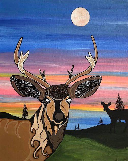 Waawaashkeshi Stroll #2 : Deer Stroll #2 by Sam Zimmerman. He is currently exhibiting at Joy & Co.