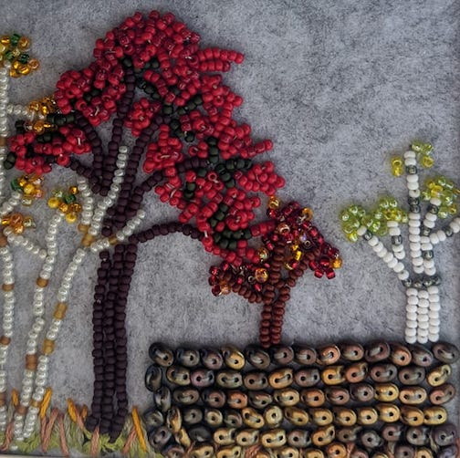 Bead painting by Shannon Crossbear.
