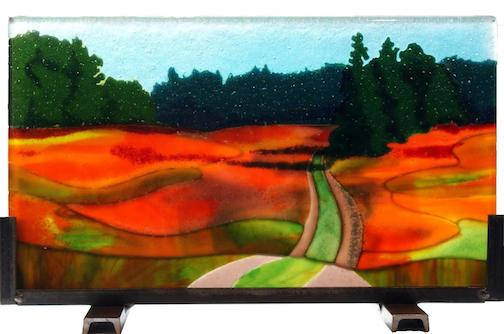 Meadow in Bloom, fused glass, by Sharon Frykman.