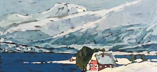 Painting by David Gilsvik, who visited Tromso, Norway and is working on a series of paintings of what he saw there.