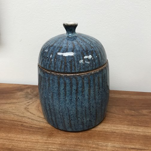 The Big Lake has pottery by Natalie Sobanja, including this blue jar.