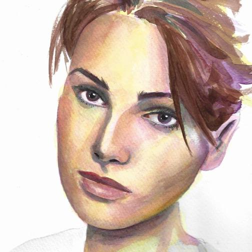 """Kerry"" by Maria Manske, watercolor, is one of the pieces in this year's Foot in the Door exhibit at the Minneapolis Institute of Art. To see the entire exhibit, click here."