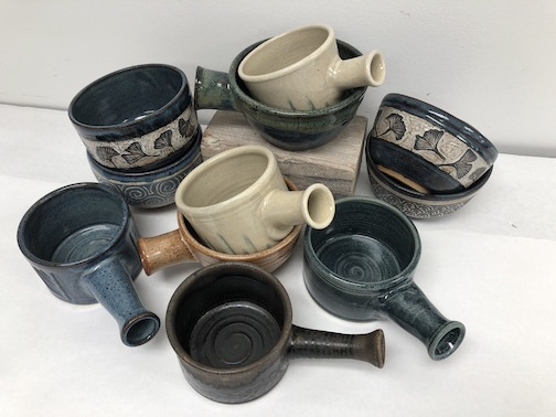 A few of the bowls now available for the Empty Bowls fundraiser.