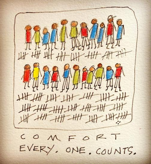 Betsy Bowen continues her Comfort series. This one is entitled: Every One. Counts.
