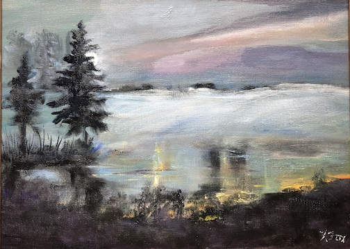 Into the Fog by Kathy Weinberg. The painting is one of her works currently on view at the Coho Cafe in Tofte.