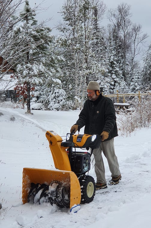 Living the Northwoods dream. We only had 3-4 inches but the snowblower wanted to start the season. By Kim Nelson.