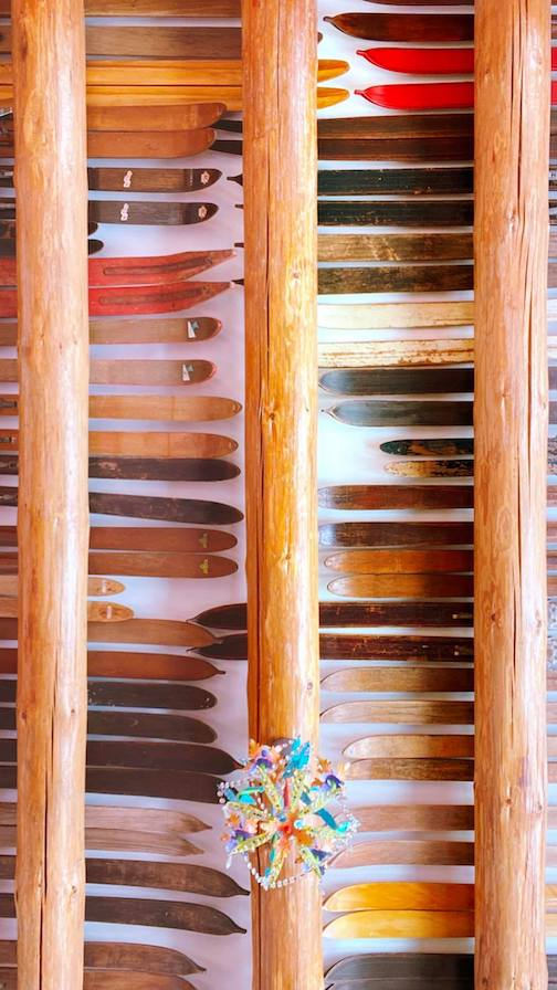 Lori Sparkly Franklin's husband installed his collection of old skis in the rafters.