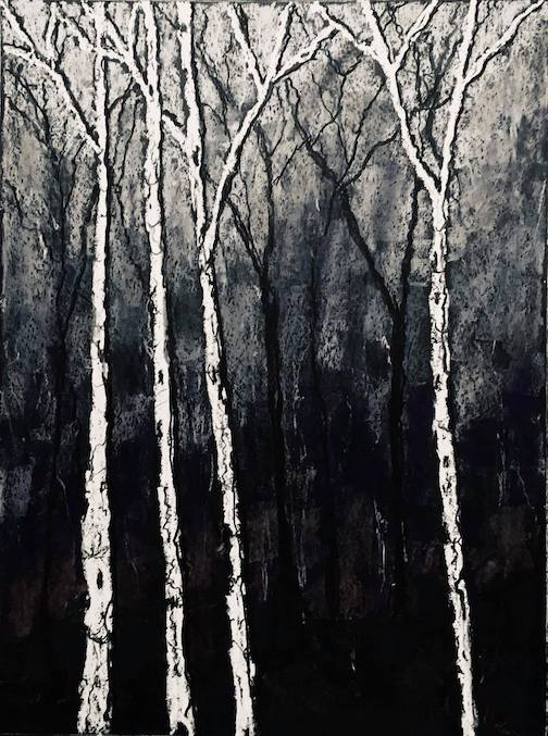 Birch trees. Monchrome of a painting by Marti Mullen.