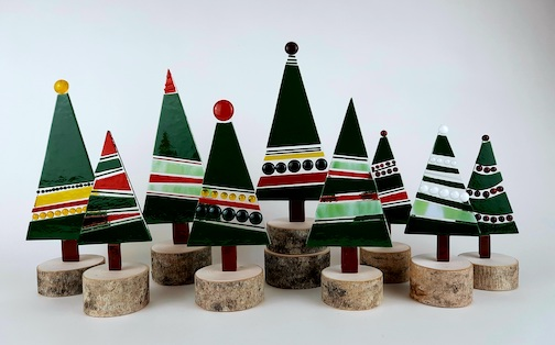 Nancy Seaton just brought in her series of fused glass holiday trees to Betsy Bowen's Studio Gallery.
