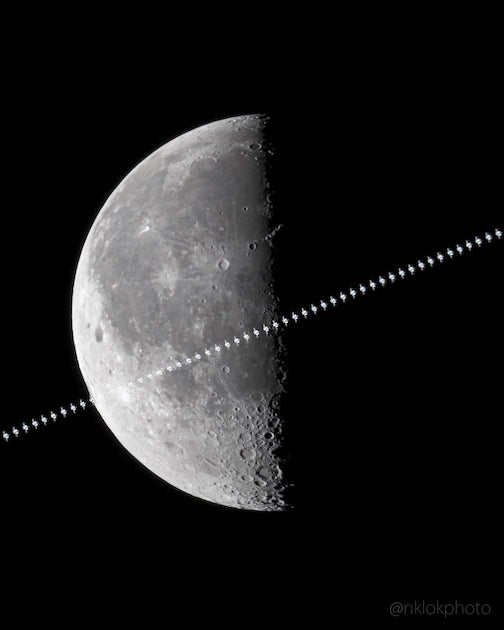 The International Space Station transits in from of the moon traveling at 17,000 mph on the morning of Nov. 8 by Nathan Klok.
