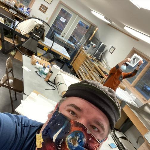 Neil Sherman and Matt Kania recently spent some time in the Grand Marais Art Colony's print studio working on solar plate etchings.