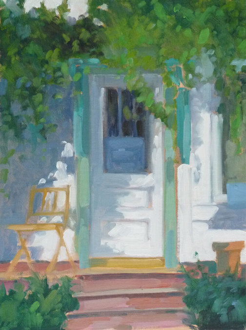 Cottage on 4th Street by Paula Gustafson is one of the paintings in the Plein Air Grand Marais exhibit, which continues online through the end of the year;  To see the exhibit, click here.