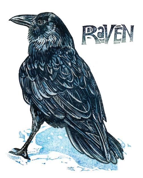 Raven, a print by Kenspeckle Letterpress.
