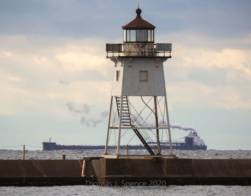 The James R. Baker passing by Grand Marais this morning by Thomas Spence.