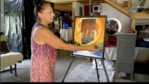 Kare Savage Blue talks about her painting, Medicine Bear, in this video. Click here to see.