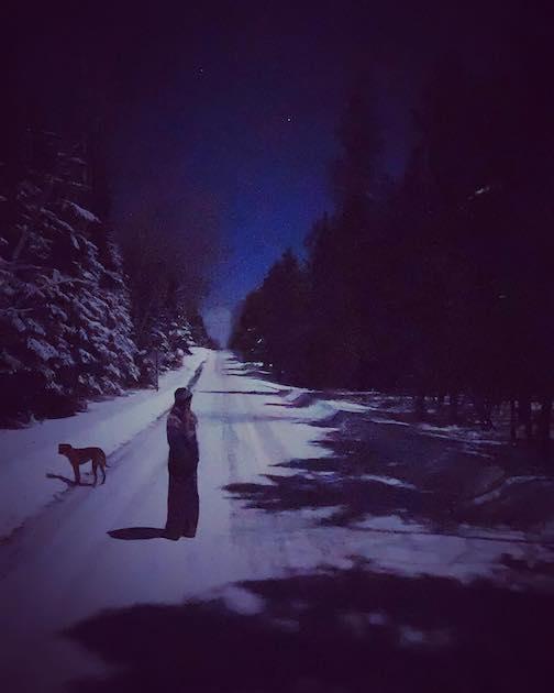 A walk in full moon shadows by Amymarie Schmidt.