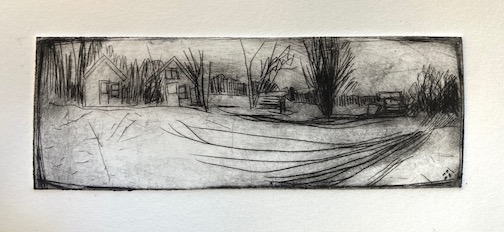 Farm in Winter, etching by Betsy Bowen.
