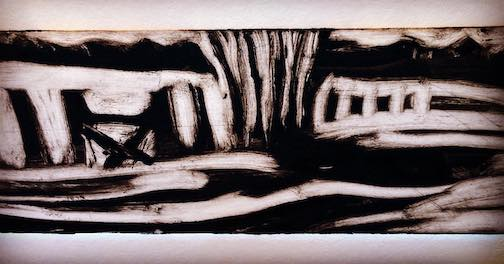 Winter at the farm, mono print, by Betsy Bowen. A new technique for me.
