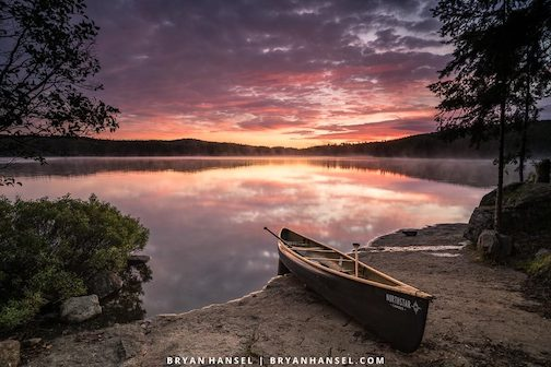 Sunrise on Cherokee Lake is one of the signed prints Bryan Hansel has at North House Folk School.