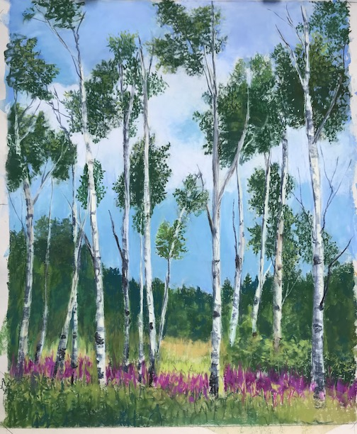 """""""Fireweed on Sawbill,"""" pastel, by Kristin Blomberg."""