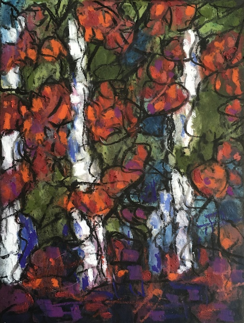 Trellis of Love, acrylic, by Marti Mullen, is one of the pieces in the Valentine Shop at the North Shore Artists League's web site.