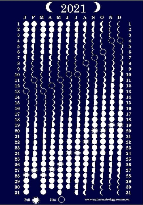 Moon phases for 2021, designed unknown.