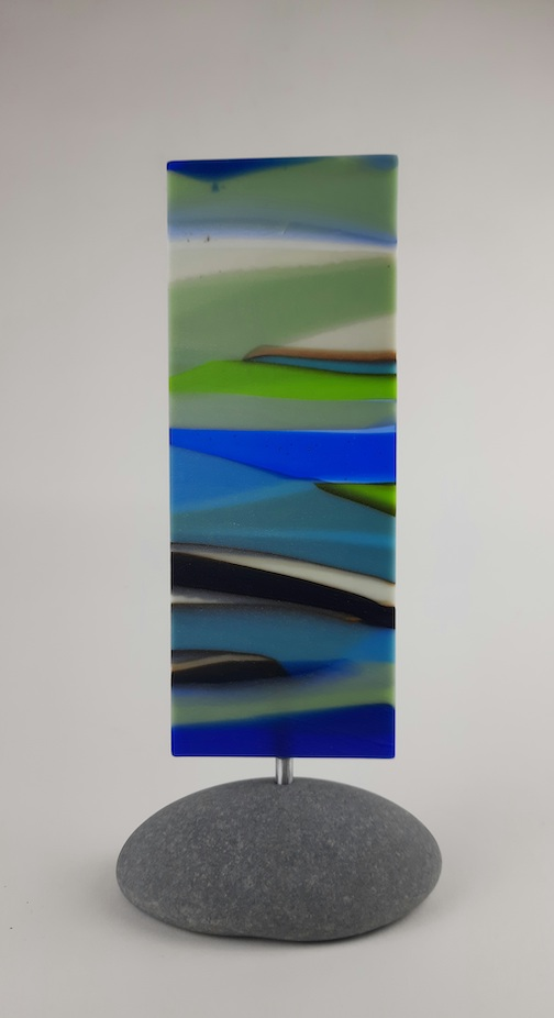 """Exhale,"" fused glass totem by Nancy Seaton"