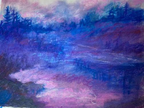 Early sunrise over the lake by Patricia Hagen, pastel.