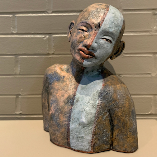 """Marked,"" earthenware clay, by Robin Murphy, is one of the works in the pottery exhibit at the Duluth Art Institute."