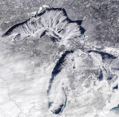 Windy over Lake Superior. NASA satellite photograph.