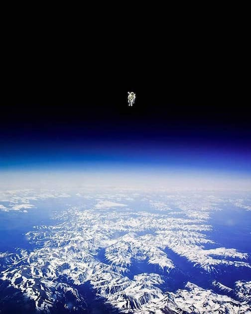 Astronaut Bruce McCandless I floats untethered away from the safety of the space shuttle, with nothing but his Manned Maneuvering Unit keeping him alive. He was the first person in history to do so. NASA photo. 1984.