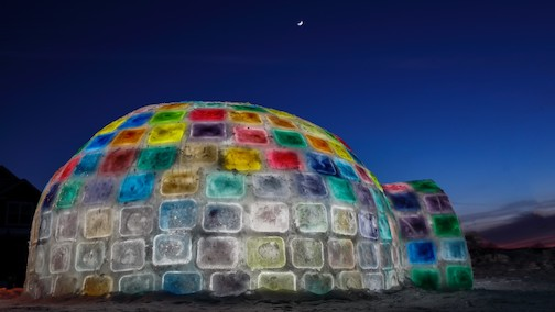 Jessica Montenegro used frozen colored tiles to build this igloo in Lakeville.