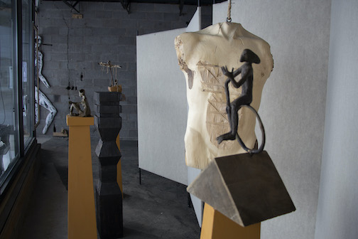 """John Books has a sculpture exhibit in the windows at Studio 21, the Grand Marais Art Colony's new building on Hwy. 61. The exhibit is entitled """"A Gathering of Ghosts."""""""