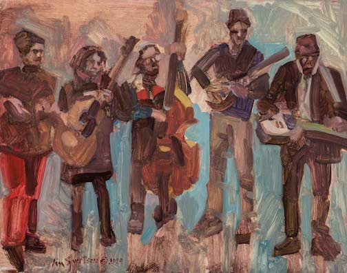 The Plucked Up String Band, painting by Liz Sivertson.