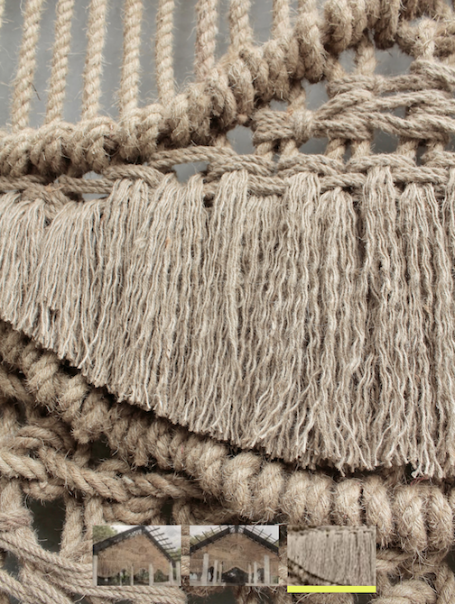 Detail of the macrame work .