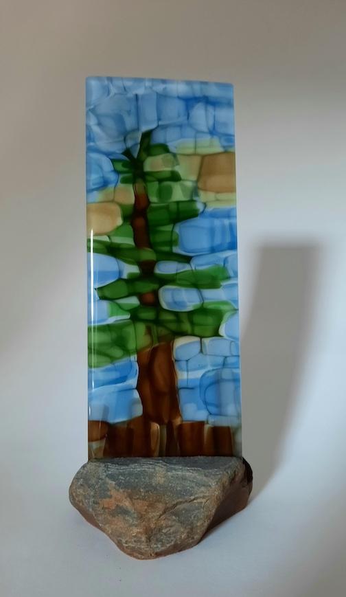 Pine Tree, fused glass, by Nancy Seaton.