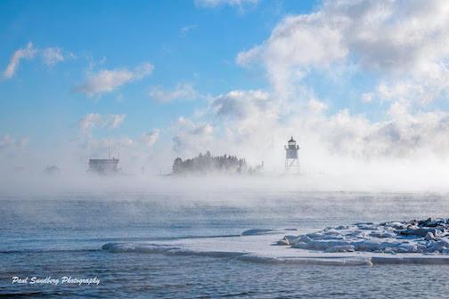 paul sundberg sea smoke over the harbor