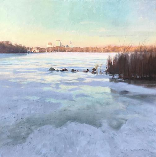 Studio painting, Frozen Lake Harriet by Scott Lloyd Anderson.