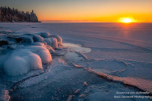 A cold sunrise over Lake Superior by Susanne Von Schroeder.