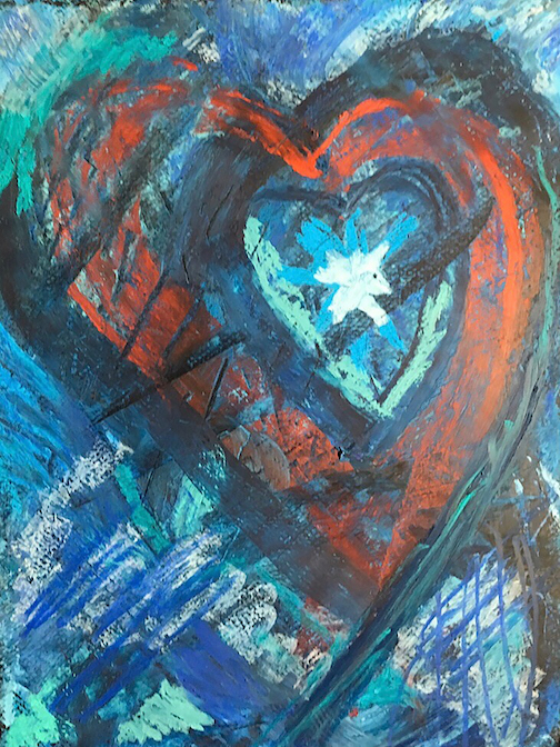 """Stormy Heart,"" acrylic, by Marti Mullen, is one of the paintings in the North Shore Artists League's Valentine Shop."