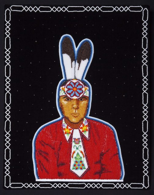 Justine Gustafson, First Portrait, velveteen, felt, seed beads, 2020, is one of the pieces in the