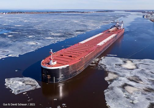 The ASC's Burns Harbor is on the move in Duluth. The Son Locks are open.Photo by -David-Schauer.