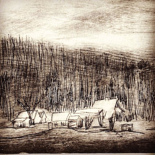 "One of the etchings in Betsy Bowen's new exhibit at her gallery, ""The Farm in Winter."""