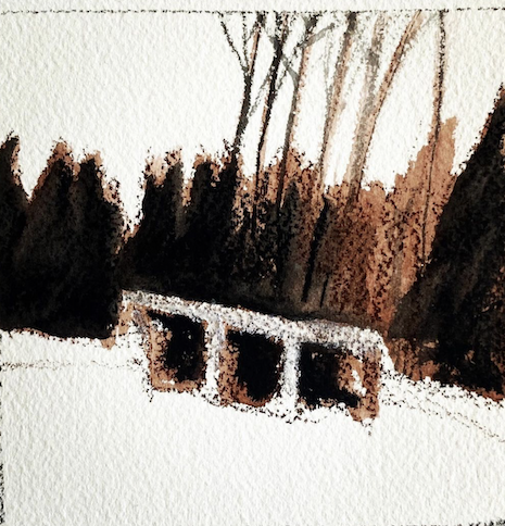 The Farm Woodshed in Winter by Betsy Bowen. Bowen will have an exhibit of the Intaglio prints that she's been working on this winter in her studio March 15-q20. Stay tuned.