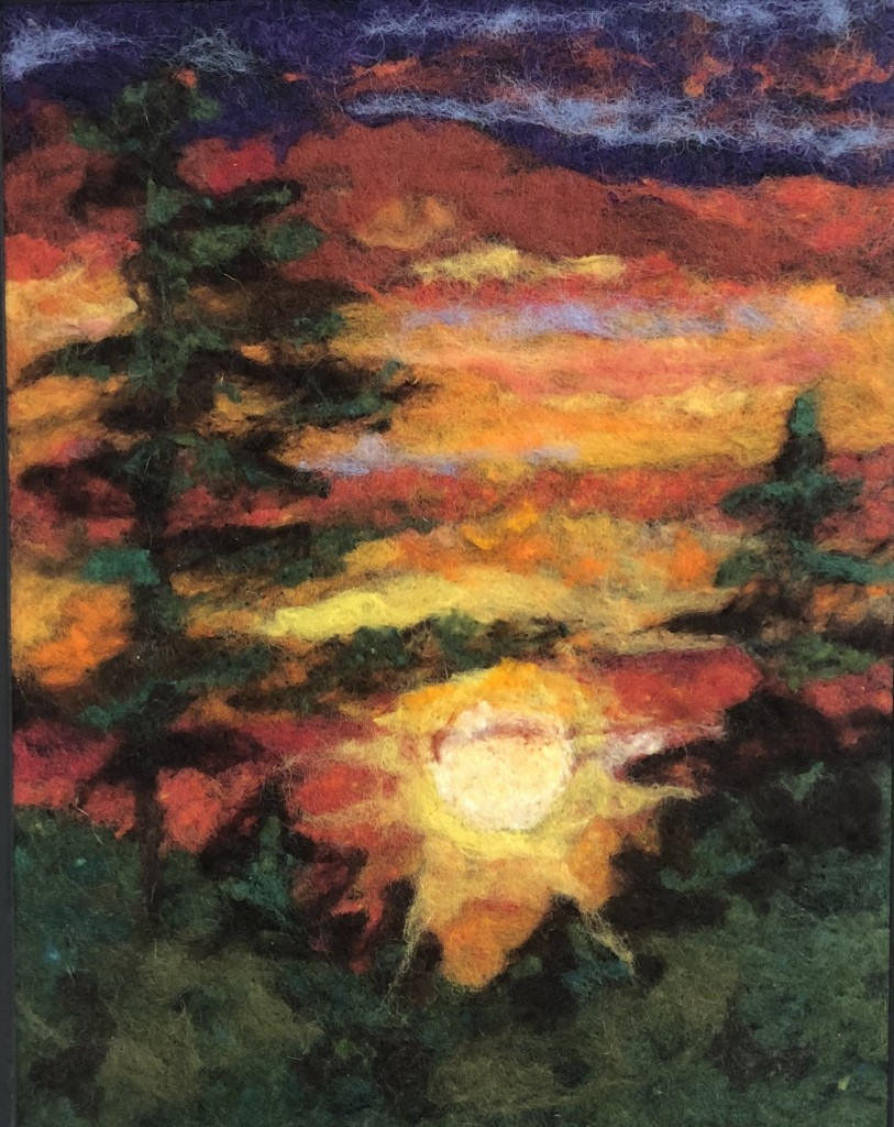 The sun will come out, needle felting, by Bonnie Gay Hedstrom.