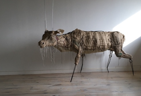 """A partially finished Caribou sculpture by Corrie Steckelberg/Wulfhelm, one of a series of three in her project, """"Once and Future."""" The sculpture will include dirt and seeds and when placed outside, wilthe carbibou"""