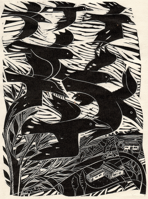 """""""Crows,"""" linocut by Jonathan Gibbs for Harpers Magazine."""