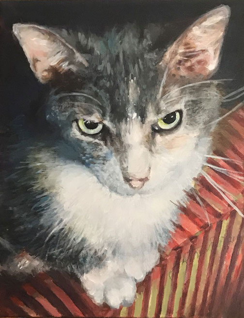Che Urber by Jan Attridge. Jan painted a portrait of a loved cat for its owner.